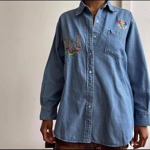 [Vintage] Nautical Embroidered Jean Button Up